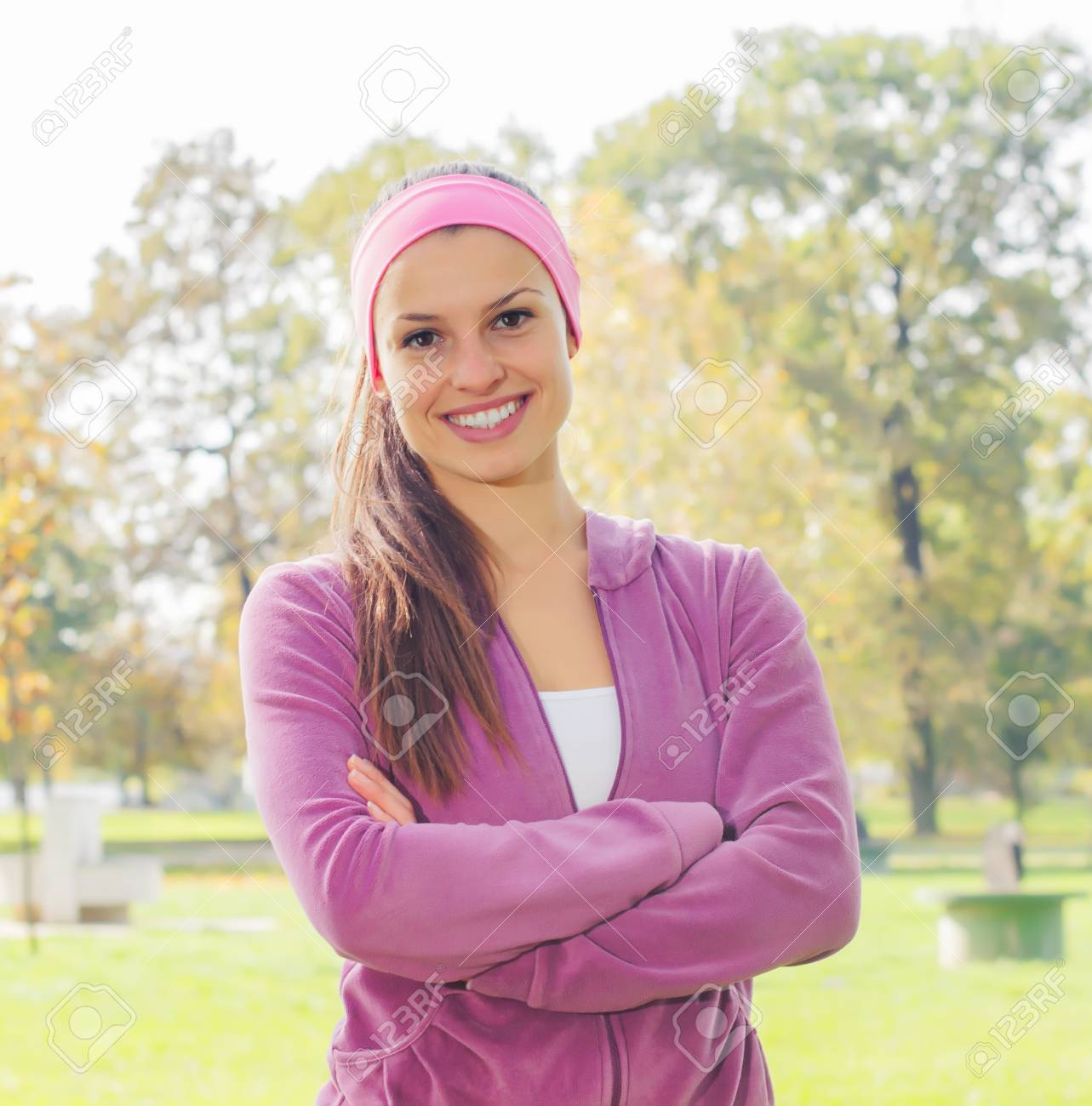 Fitness Smiling Young Woman, Portrait Outdoor, Fresh happy beautiful sporty female in the park, Healthy lifestyle Stock Photo - 47990640