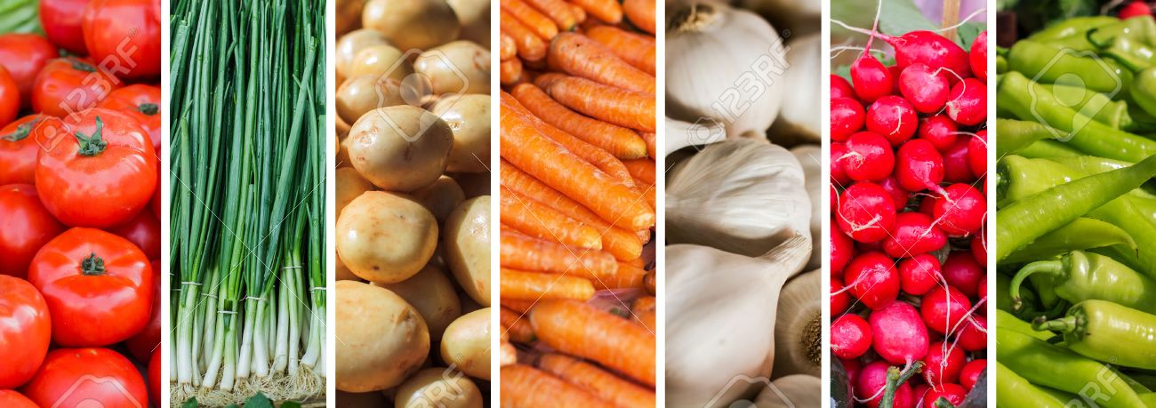 Fresh Vegetable , collage of variety healthy food on the farmers market. - 58780741