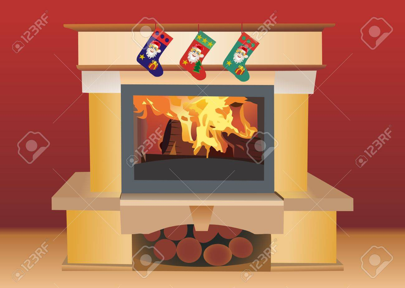 Christmas fireplace Stock Vector - 13928901