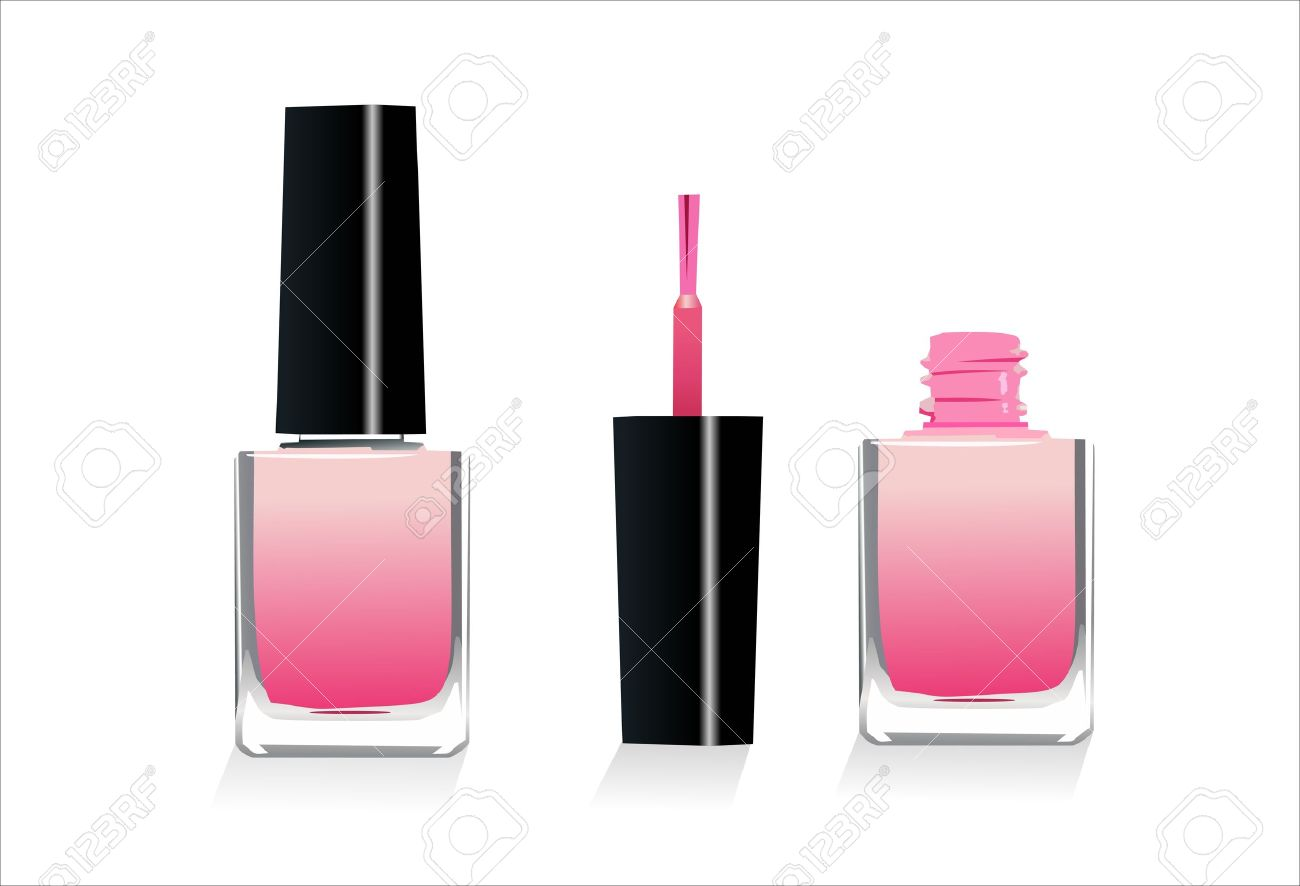 Isolated Pink Nail Polish Dripping Clipart