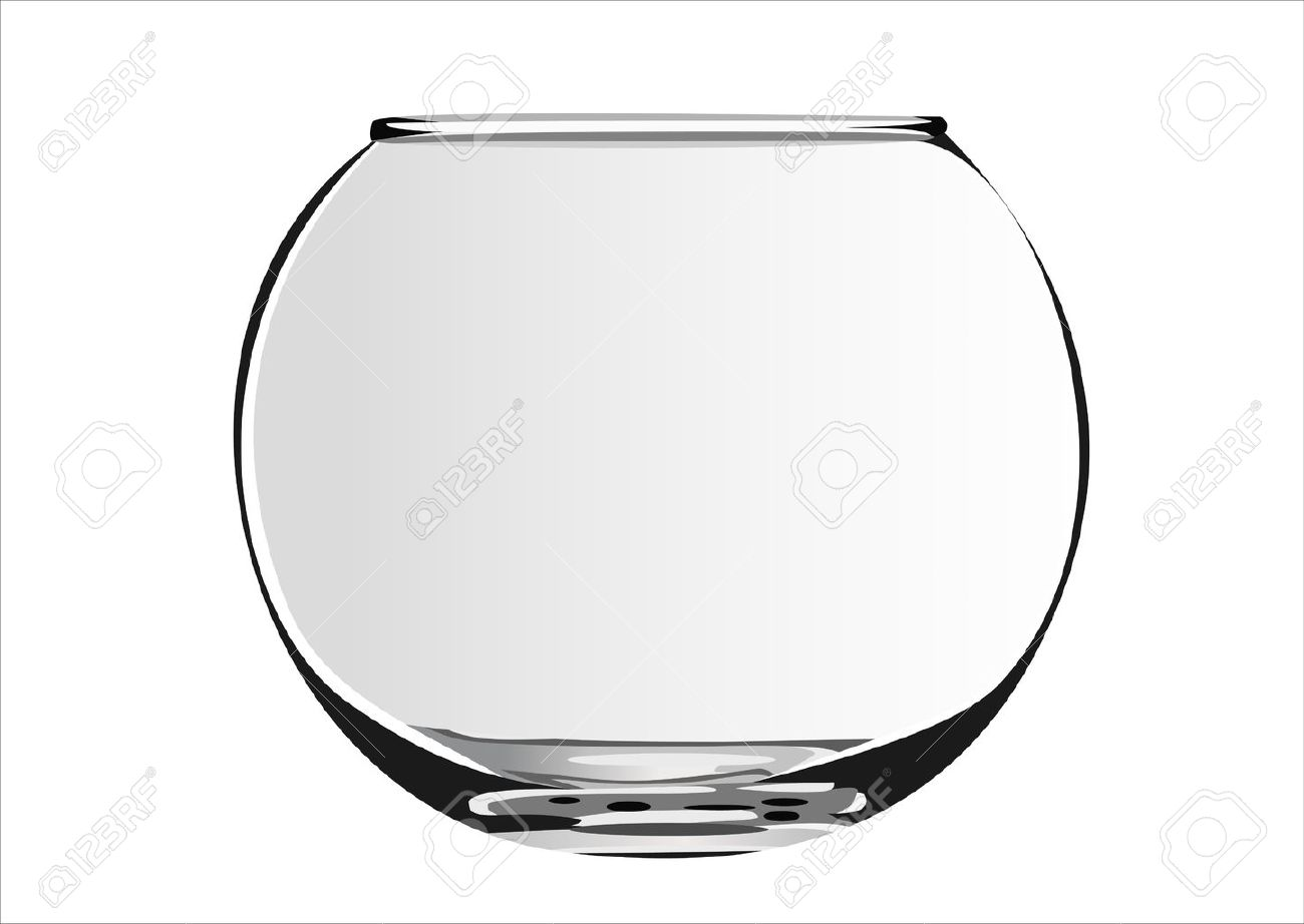 Close up view of fish bowl isolated on white - 13928657