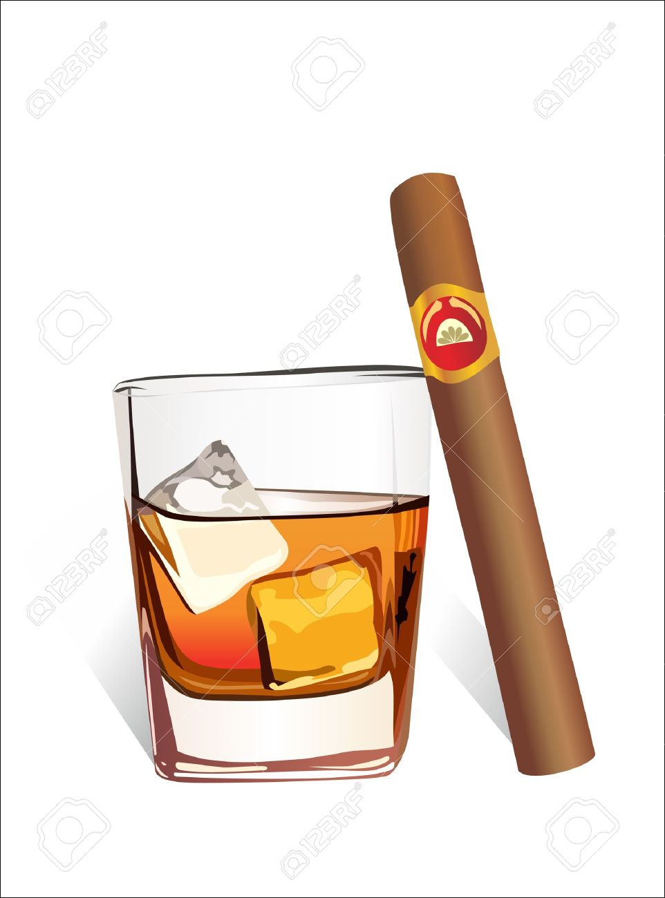 13928755-Whiskey-with-ice-cubes-and-cigar-isolated-on-white-background-Stock-Vector.jpg (962×1300)