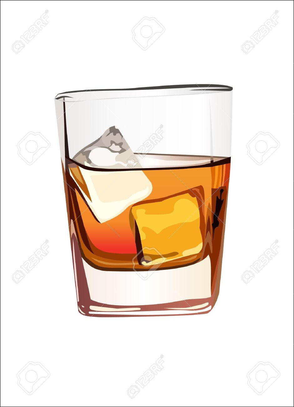 whisky glass whiskey in glass with ice isolated on white - Scotch Glass