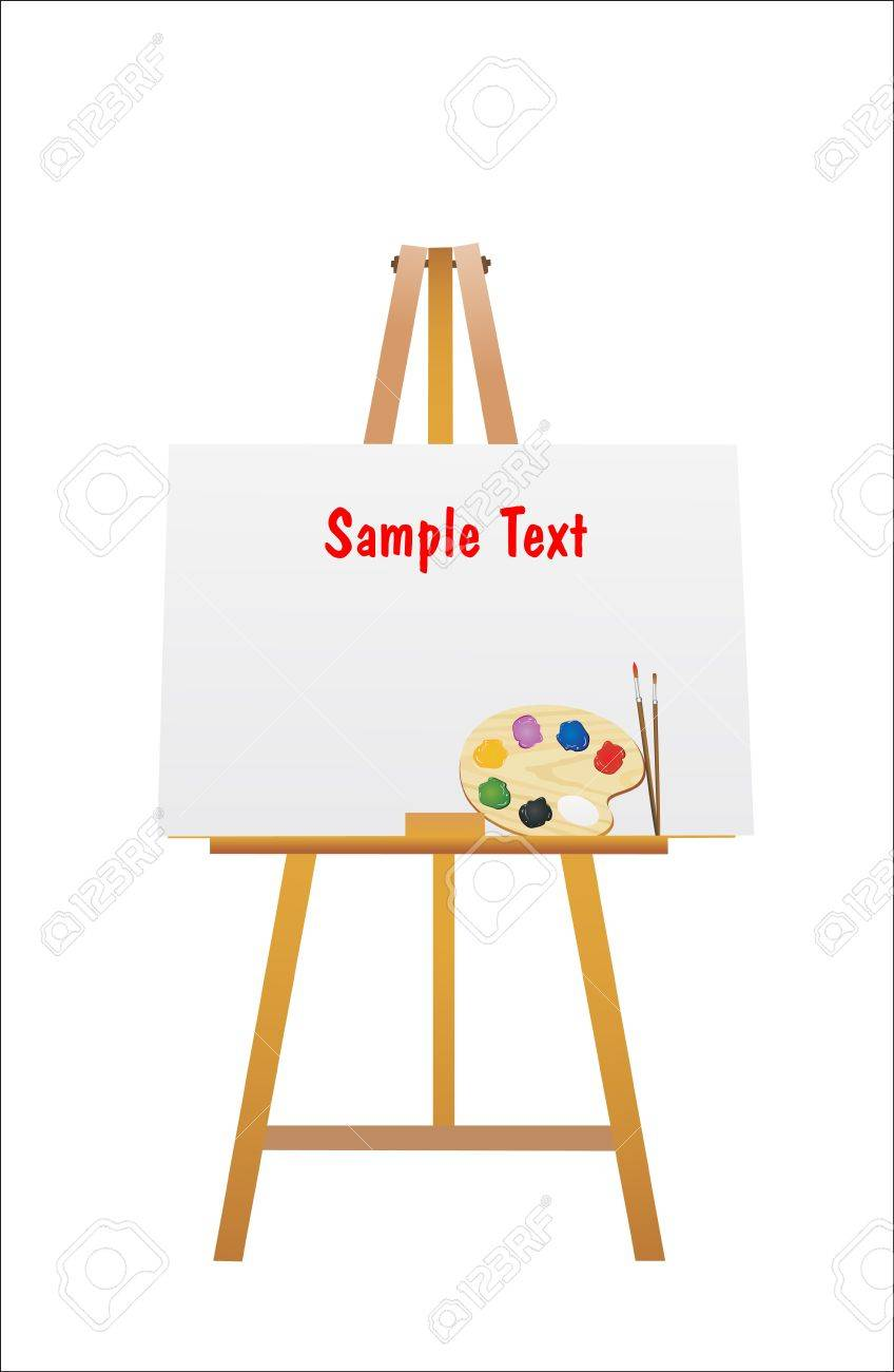 Illustration Of An Easel And Brush With Wooden Art Palette With