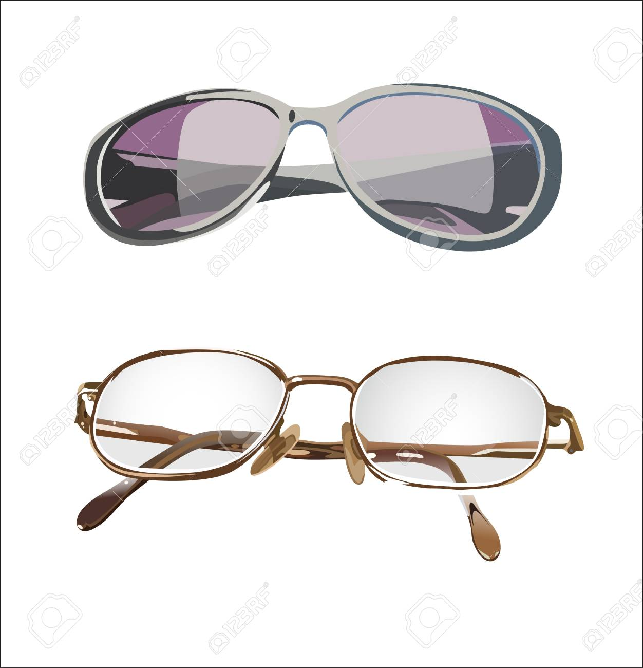 set of two glasses isolated on white background Stock Vector - 14205446