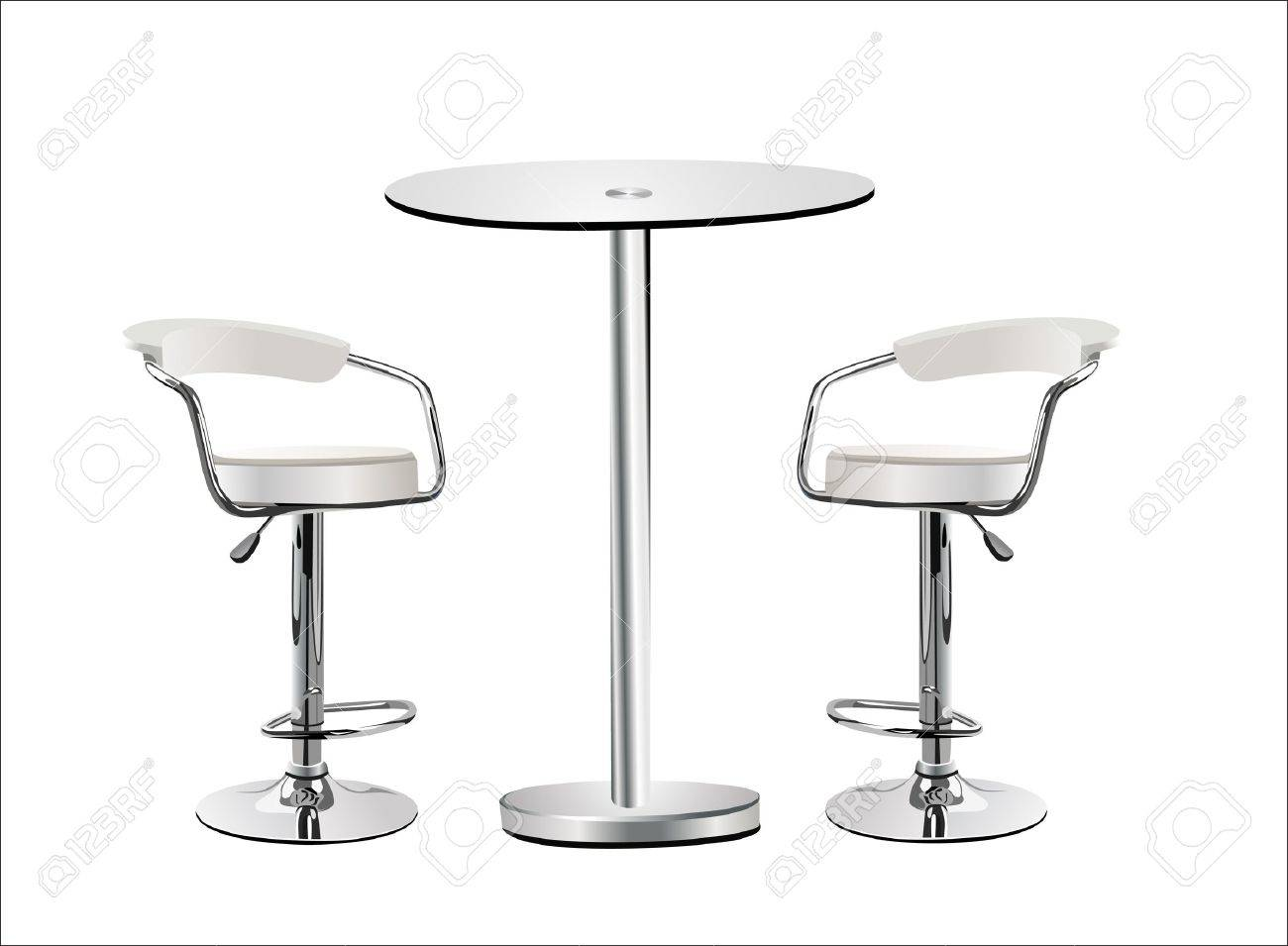 Superb High Glass Top Table W Chairs On White Background. Stock Vector   14296821