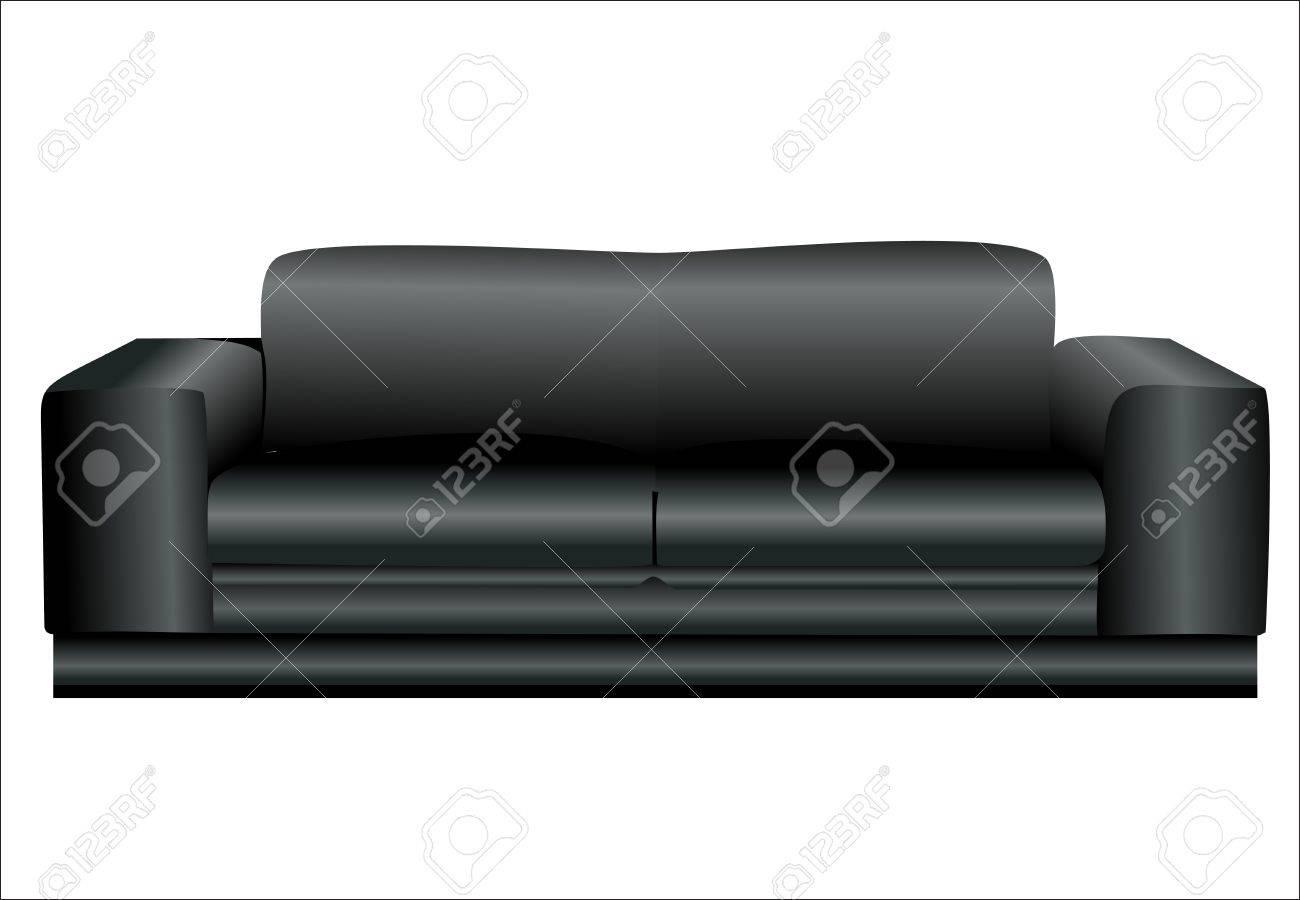 Afbeelding van een moderne zwarte leren bank geïsoleerd tegen witte