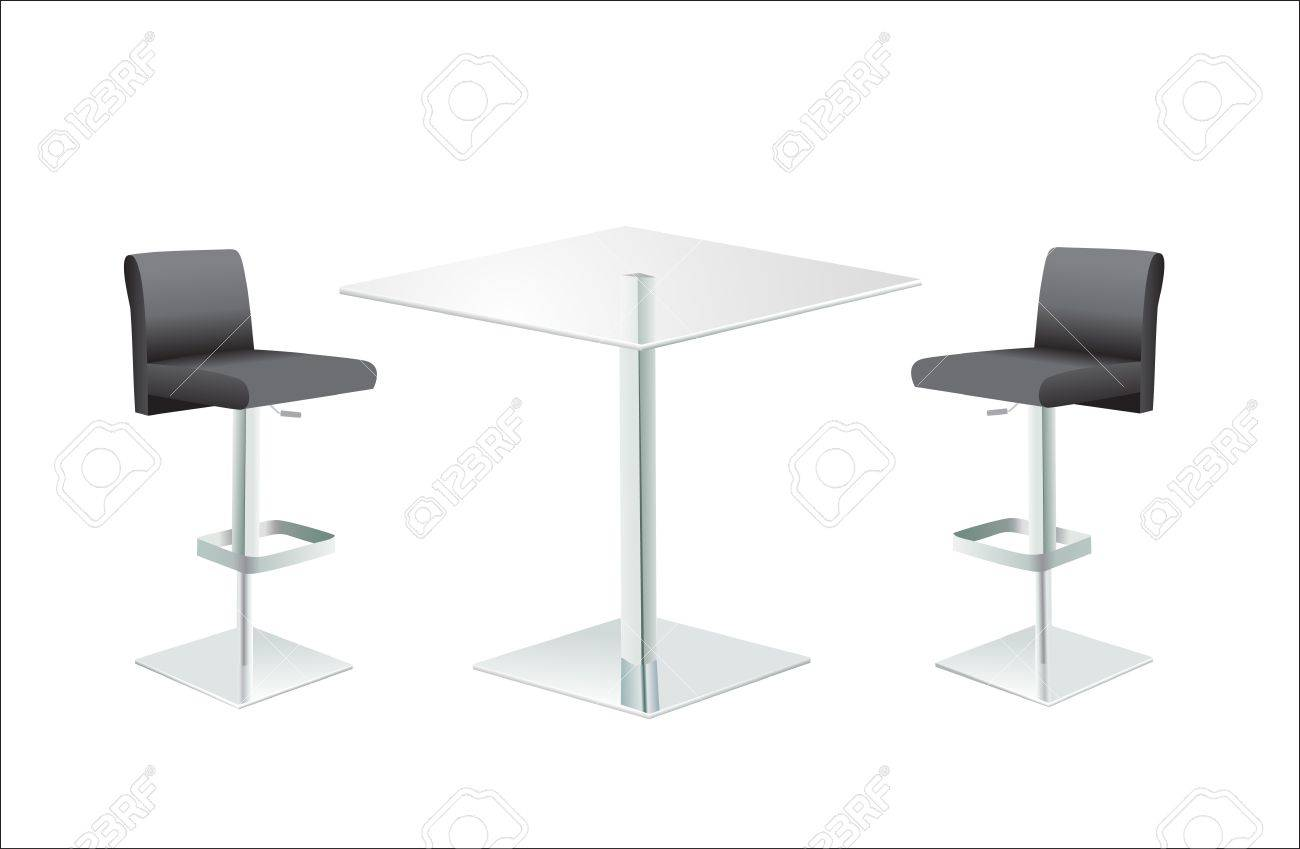 High Glass Top Table W Chairs On White Background Stock Vector   15086279
