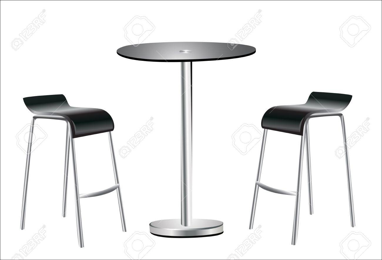 high table w chairs on white background stock vector
