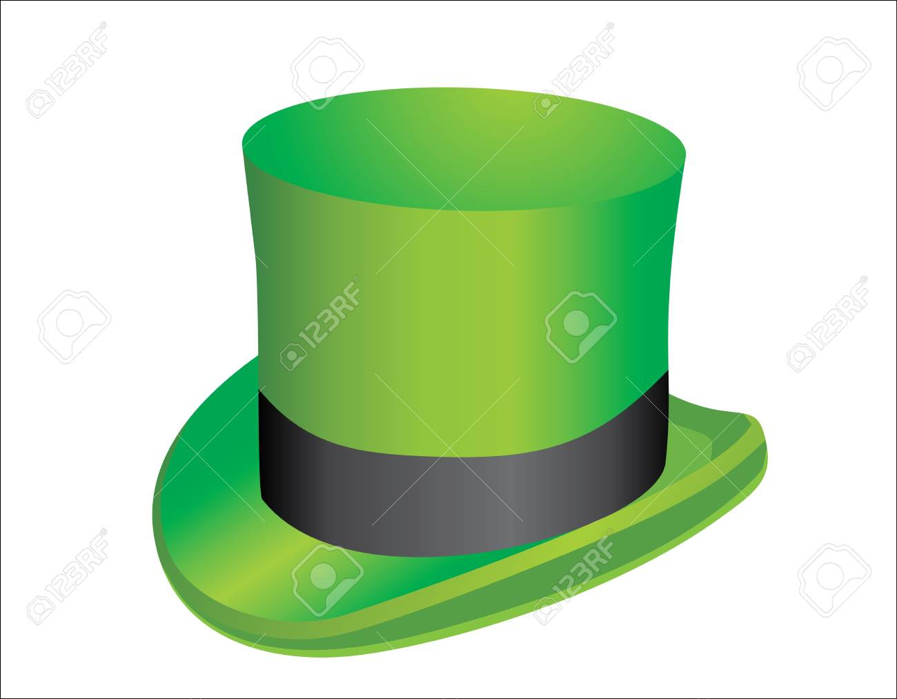 illustration, green St  Patrick s Day hat with clover Stock Vector - 15086131