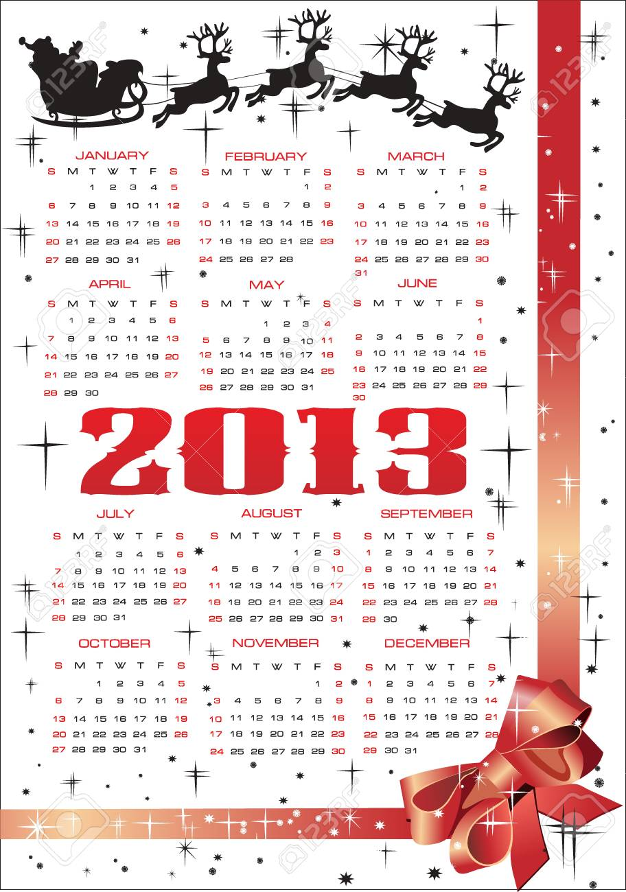 Vector calendar for 2013 Stock Vector - 15995313