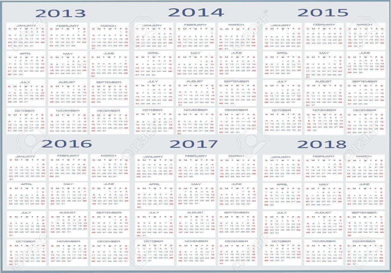 Basic Calendar, 2013, 2014, 2015, 2016, 2017, 2018 Royalty Free ...