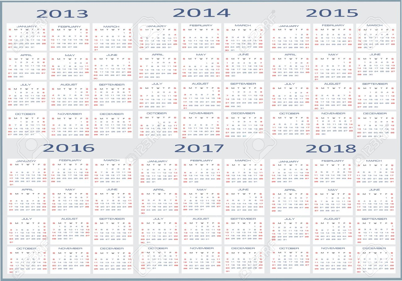 Basic Calendar, 2013, 2014, 2015, 2016, 2017, 2018 Royalty Free