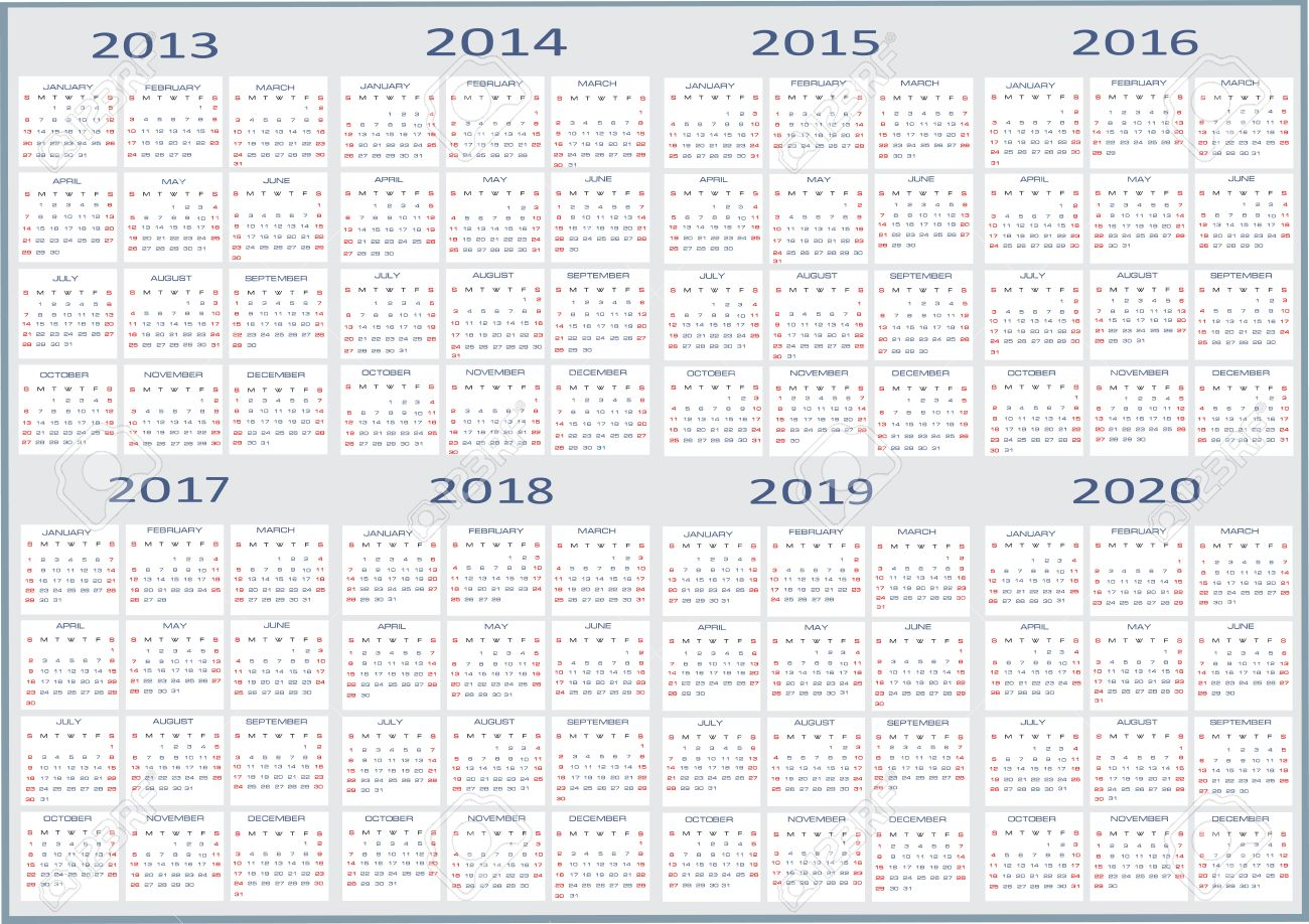 2013 And 2014 And 2020 Calendar New Year 2013, 2014, 2015, 2016, 2017, 2018, 2019, 2020 Calendars
