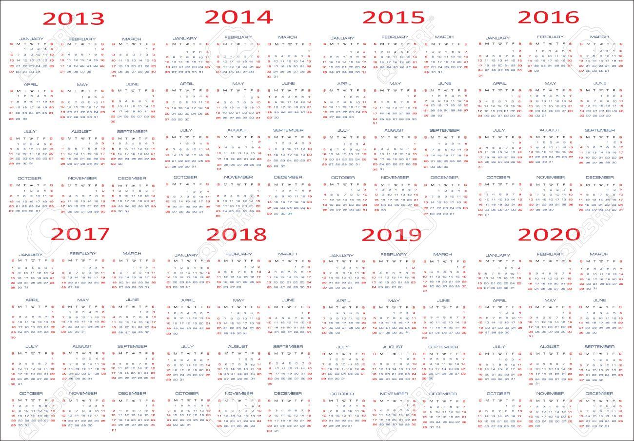 New Year 2013, 2014, 2015, 2016, 2017, 2018, 2019, 2020 Calendars