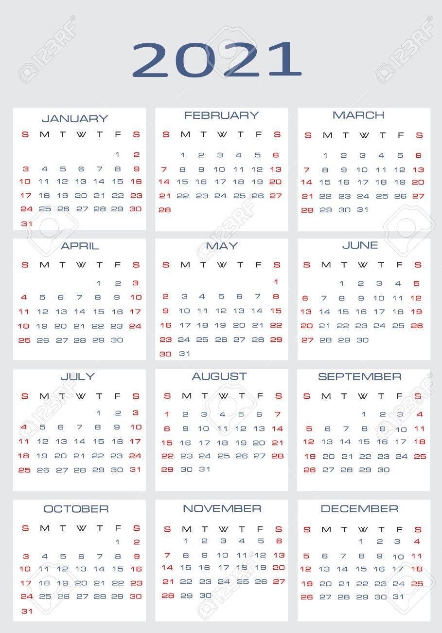 2021 年のためのベクトル カレンダーのイラスト素材・ベクタ - Image ...