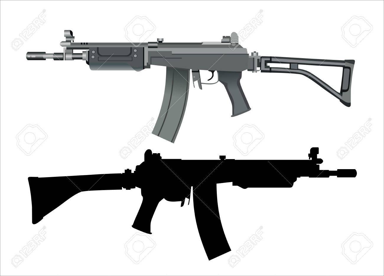 machine gun isolated on the white background - 16084694