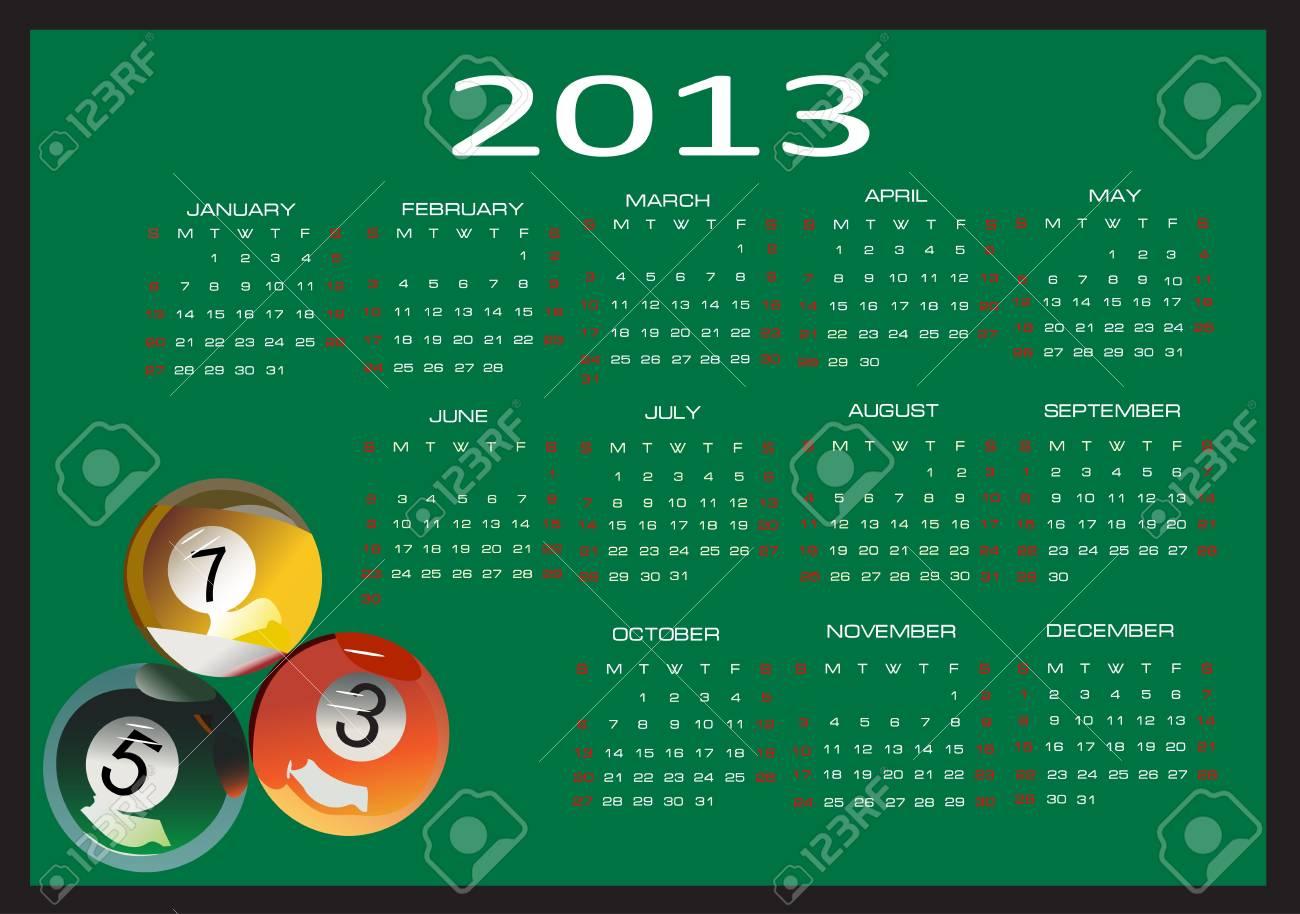 Calendar for 2013, Week starts on Sunday Stock Vector - 16392148