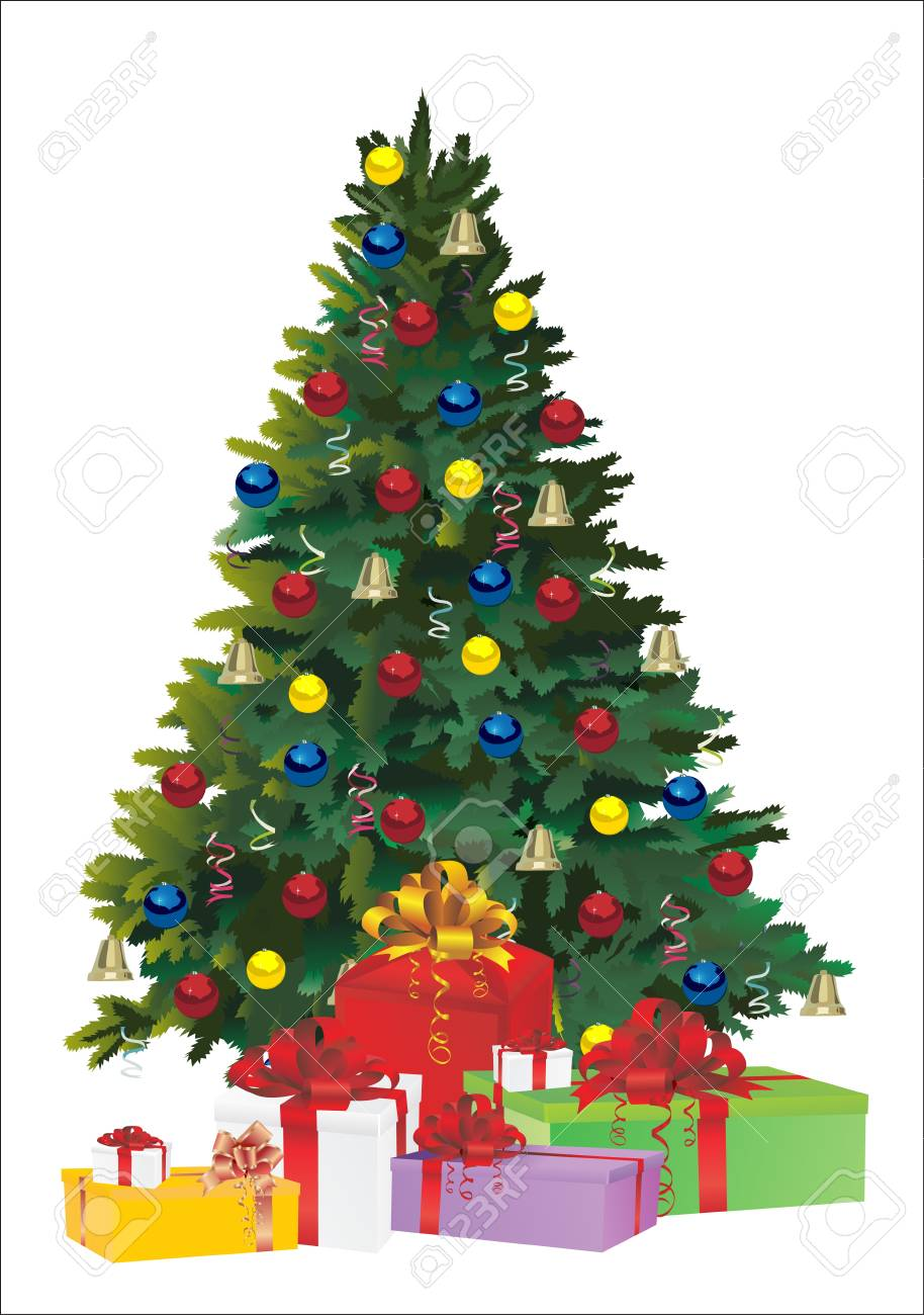 Christmas fir tree and gifts over white background Stock Vector - 16563531
