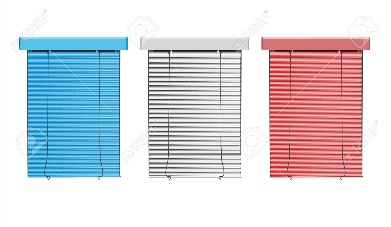 vector colored blinds isolated on white - 16563545