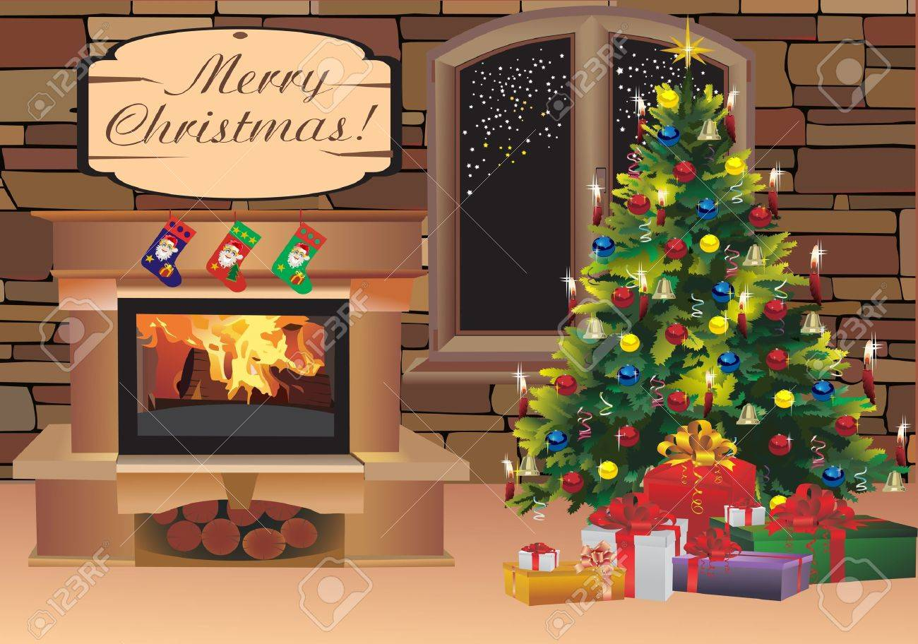 Christmas scene with tree gifts and fire in background - 16749654
