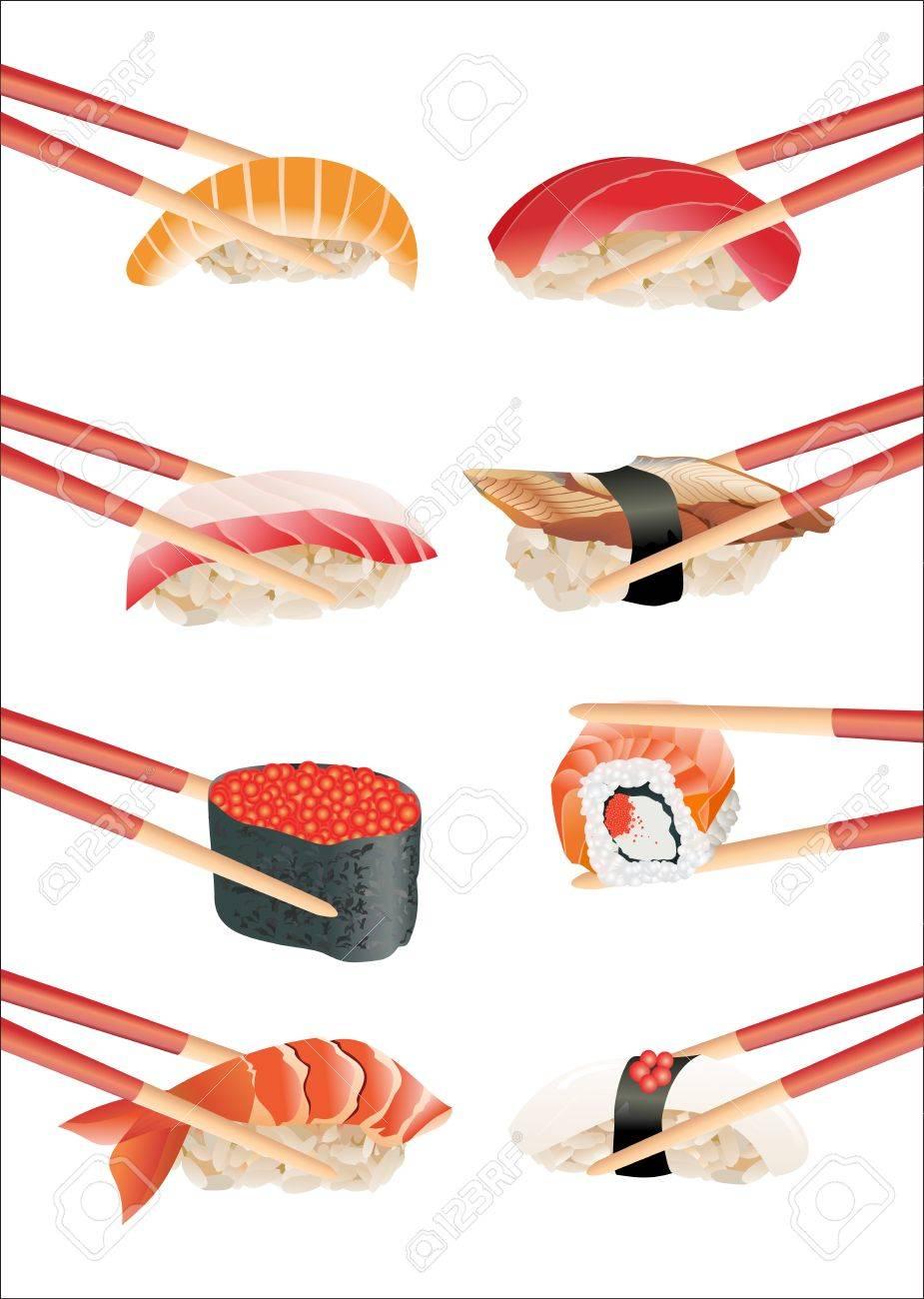 Sushi with chopsticks isolated over white background - 16749639