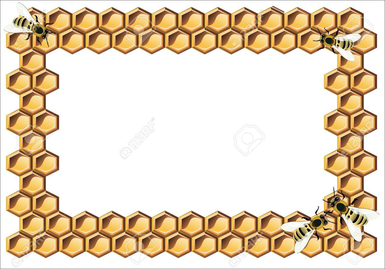 Background with bees, and honeycomb Stock Vector - 17207366
