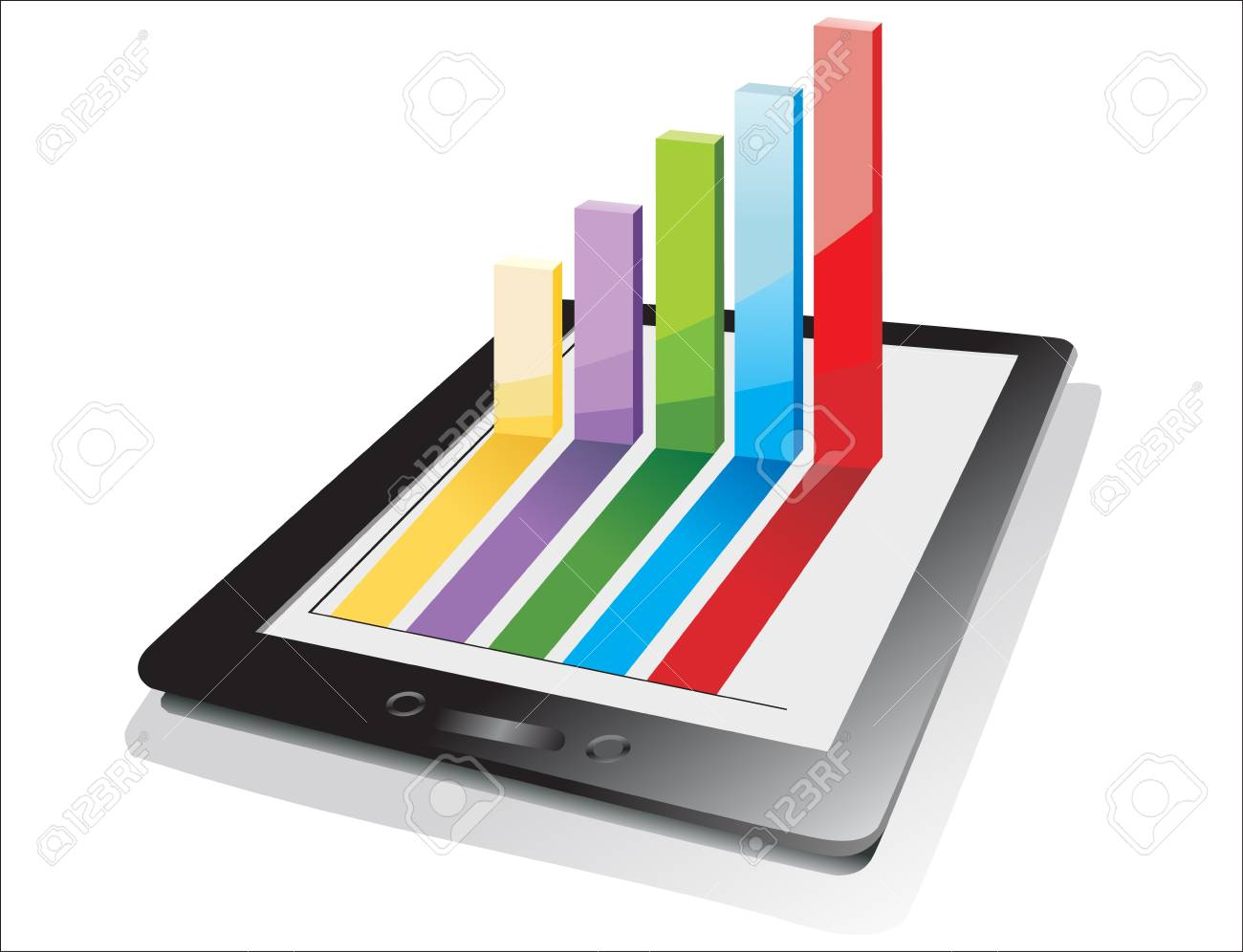 computer tablet showing a spreadsheet with some 3d charts over it Stock Vector - 17207245