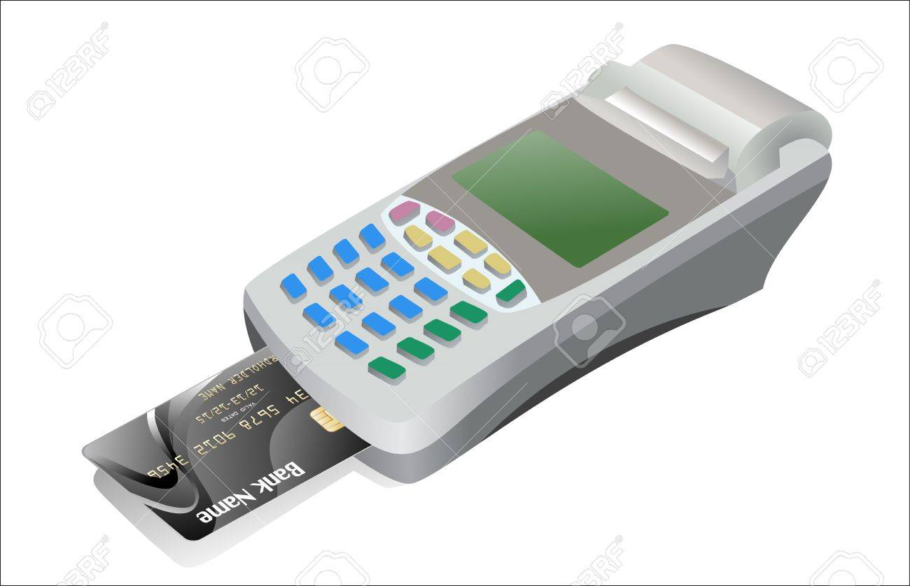 Credit card and card reader on white background Stock Vector - 17207334