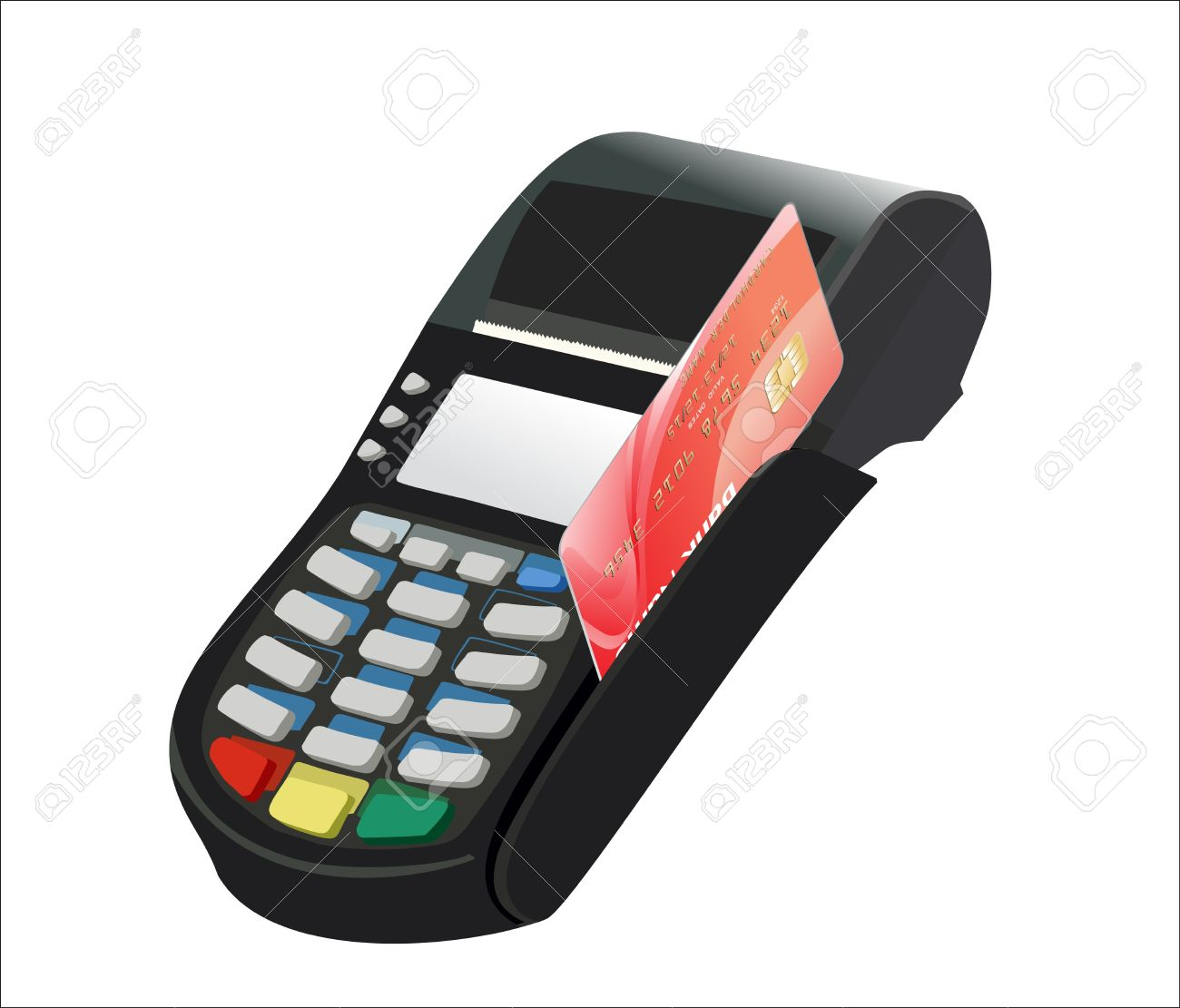 Credit card and card reader on white background Stock Vector - 17207335