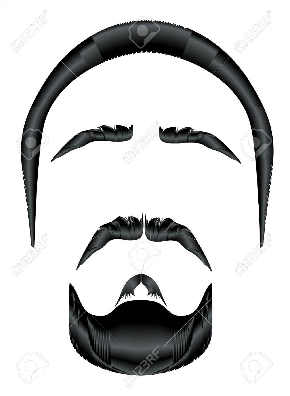 Mustache, beard and hairstyle on a white background Stock Vector - 17207354