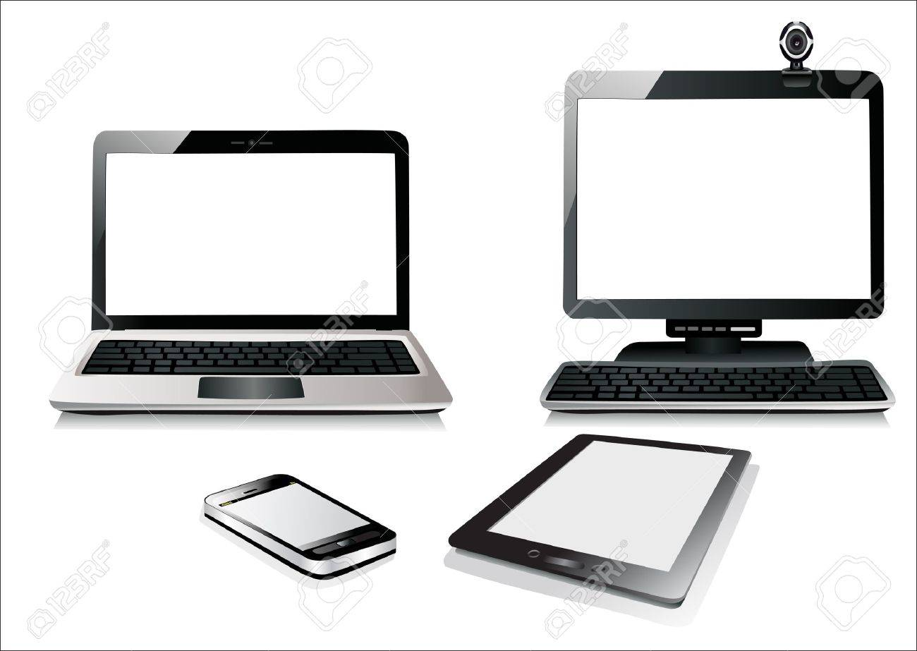 Computer, Laptop Tablet and Phone. Set of Computer Devices. - 17483875
