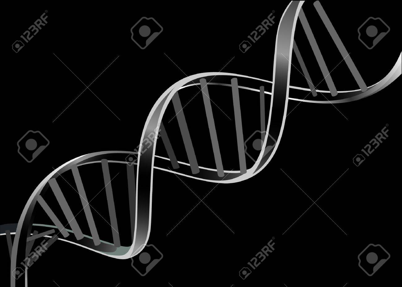 DNA strand isolated on black background - 17483848