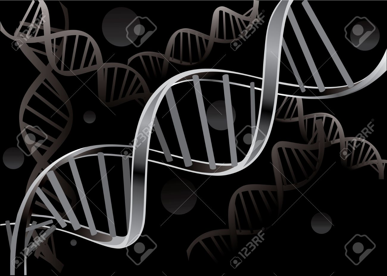 DNA strand isolated on black background - 17483859
