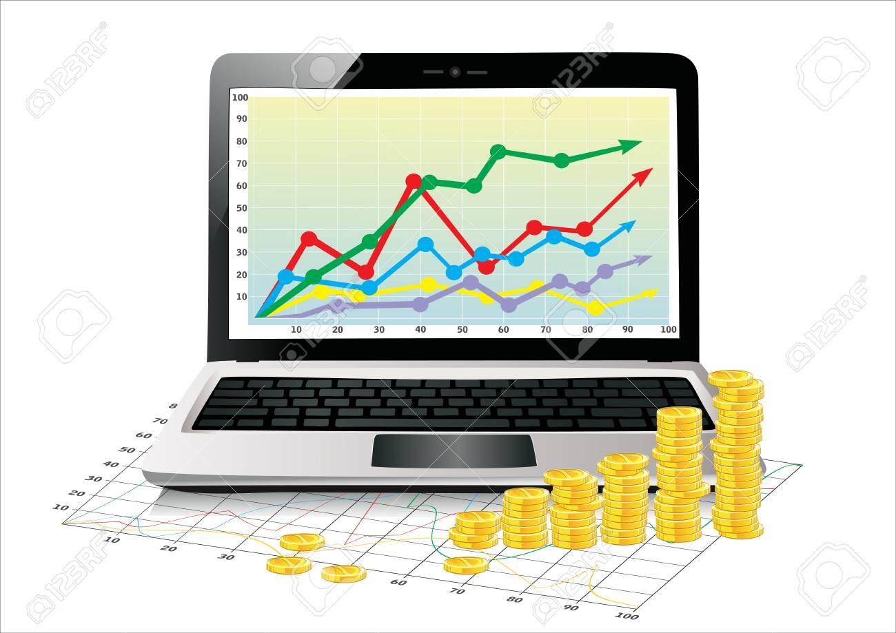 Profit concept, Coins shows business growth chart isolated on a white background - 17483912