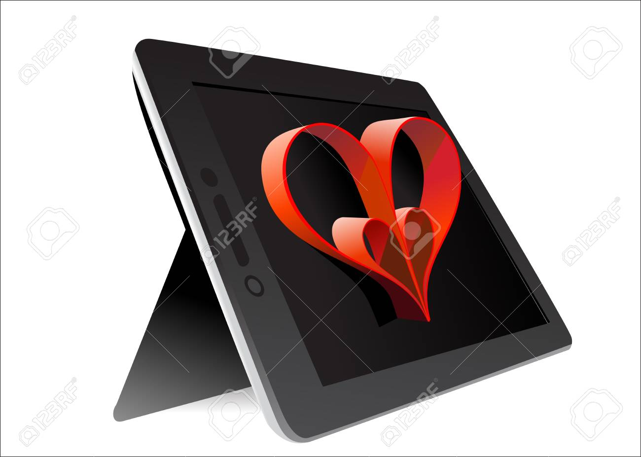 Valentine s Day Concept  Tablet PC Isolated on White Background  Vector Stock Vector - 17483844