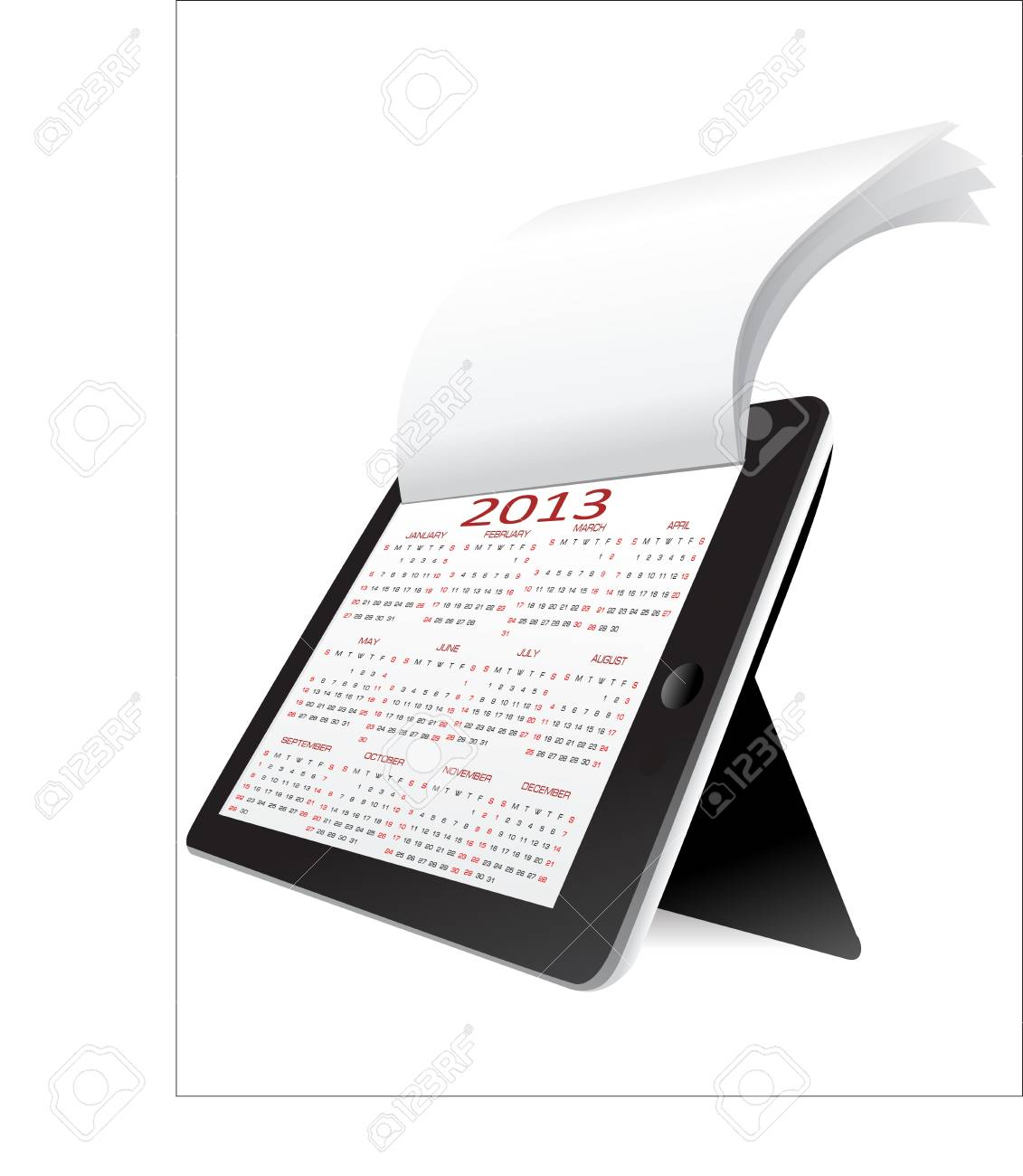 Black tablet pc on white background WIth calendar 2013 Stock Vector - 17483896