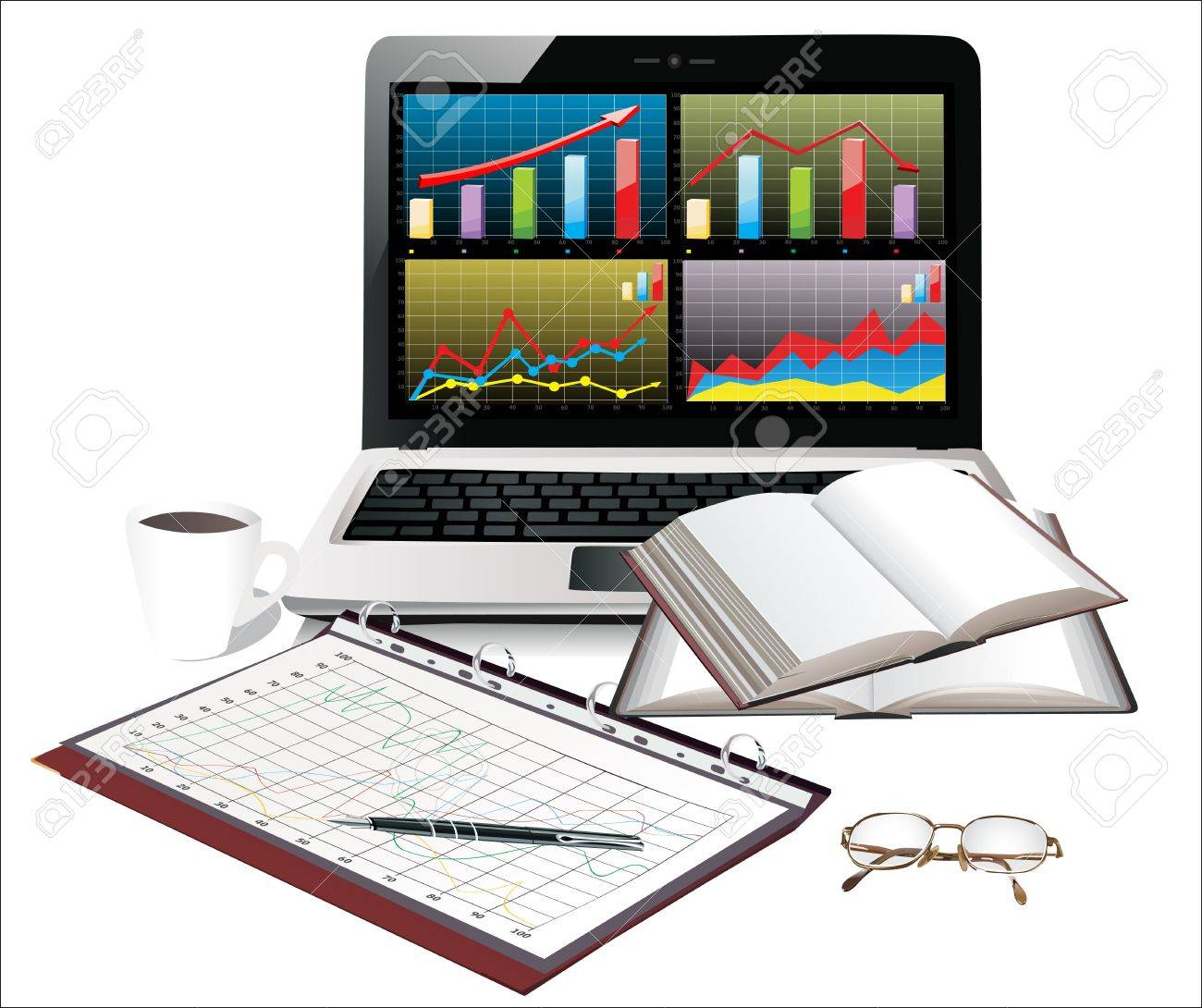Laptop with business charts and group sheets with accounting Stock Vector - 17754048
