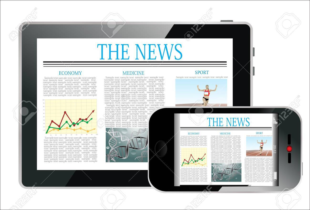 Concept with Business Newspaper on screen Tablet PC and Smartphone Stock Vector - 17754033