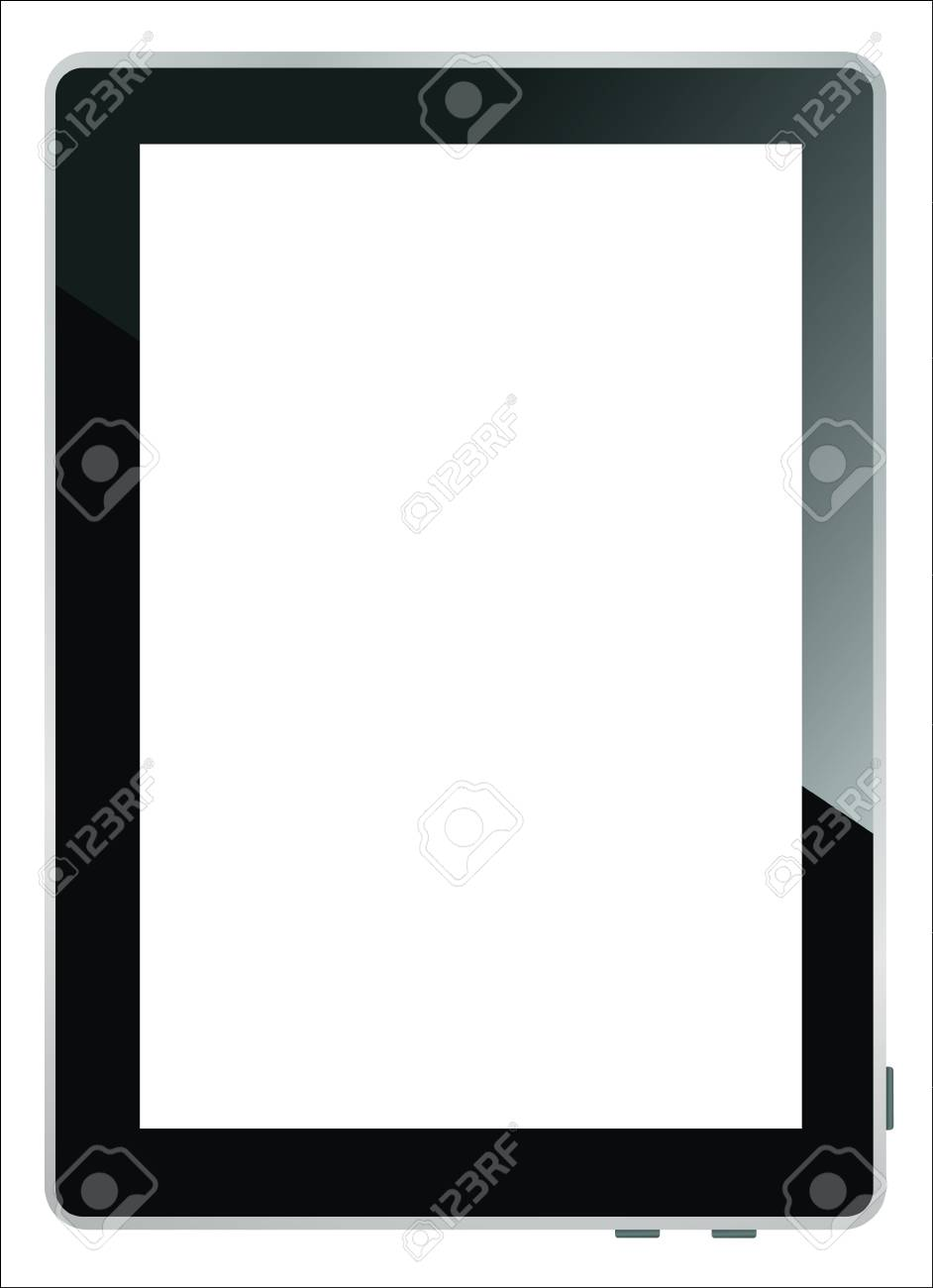 Realistic tablet pc computer with blank screen isolated on white background Stock Vector - 17754025