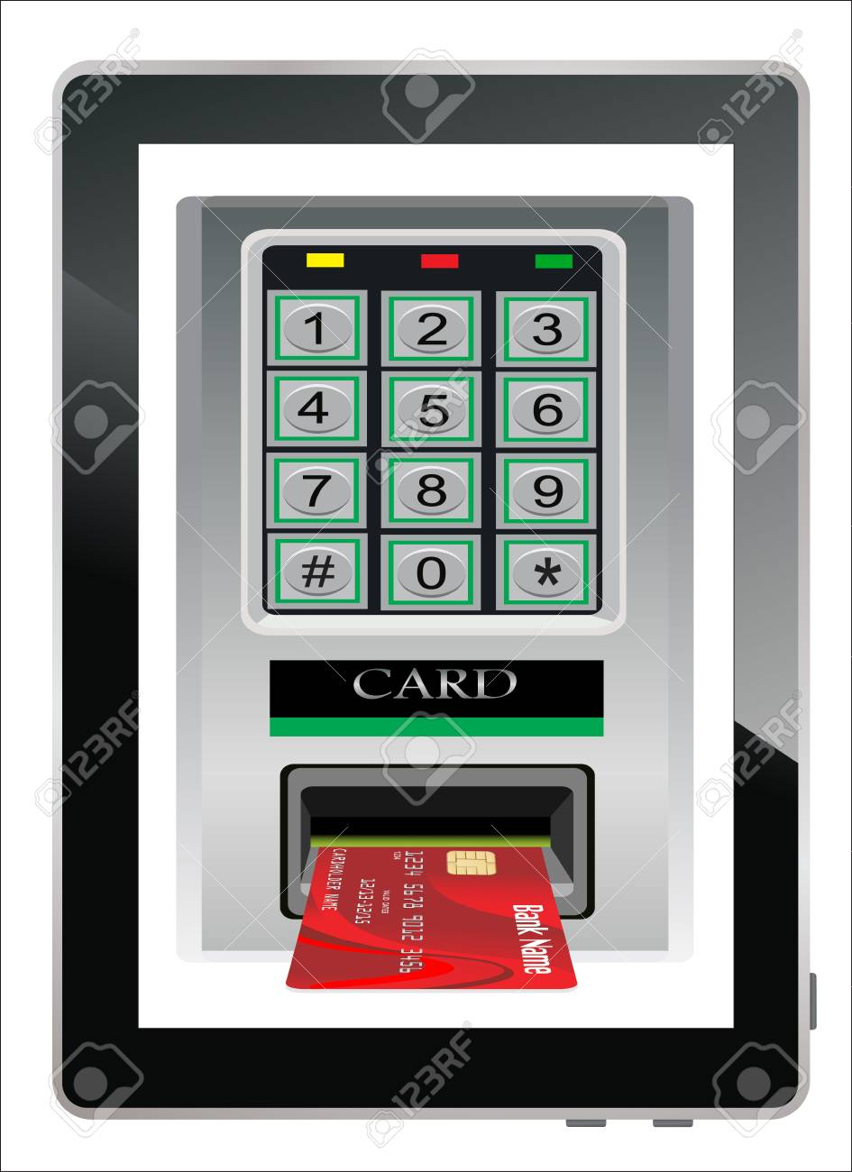 Credit card scanning terminal coming from tablet PC screen   Internet credit card Stock Vector - 17754030