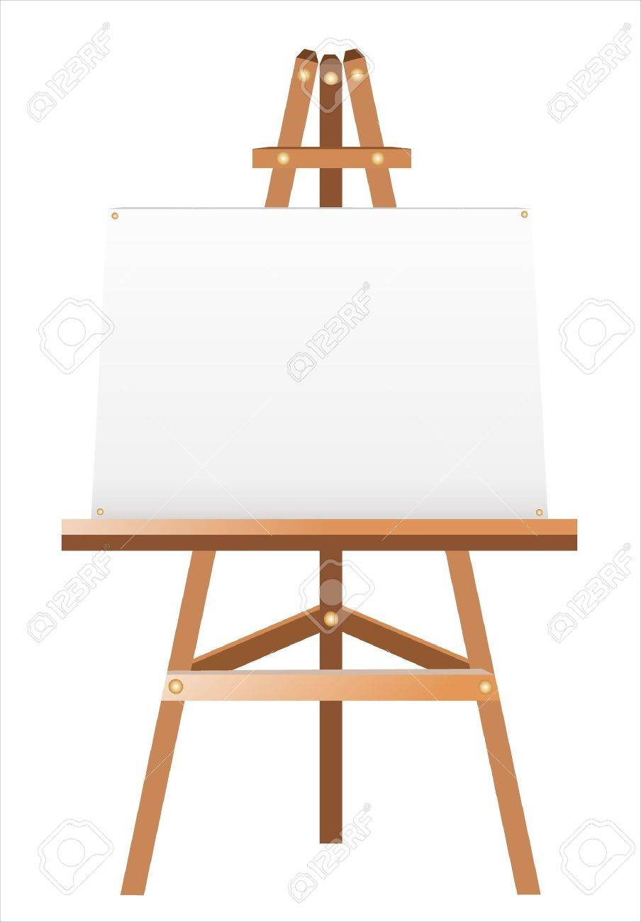 A white canvas on an easel - 17753195
