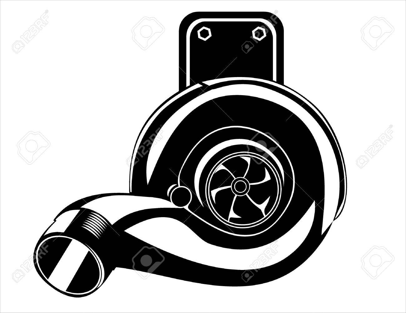 turbocharger isolated on a white background Stock Vector - 17751914