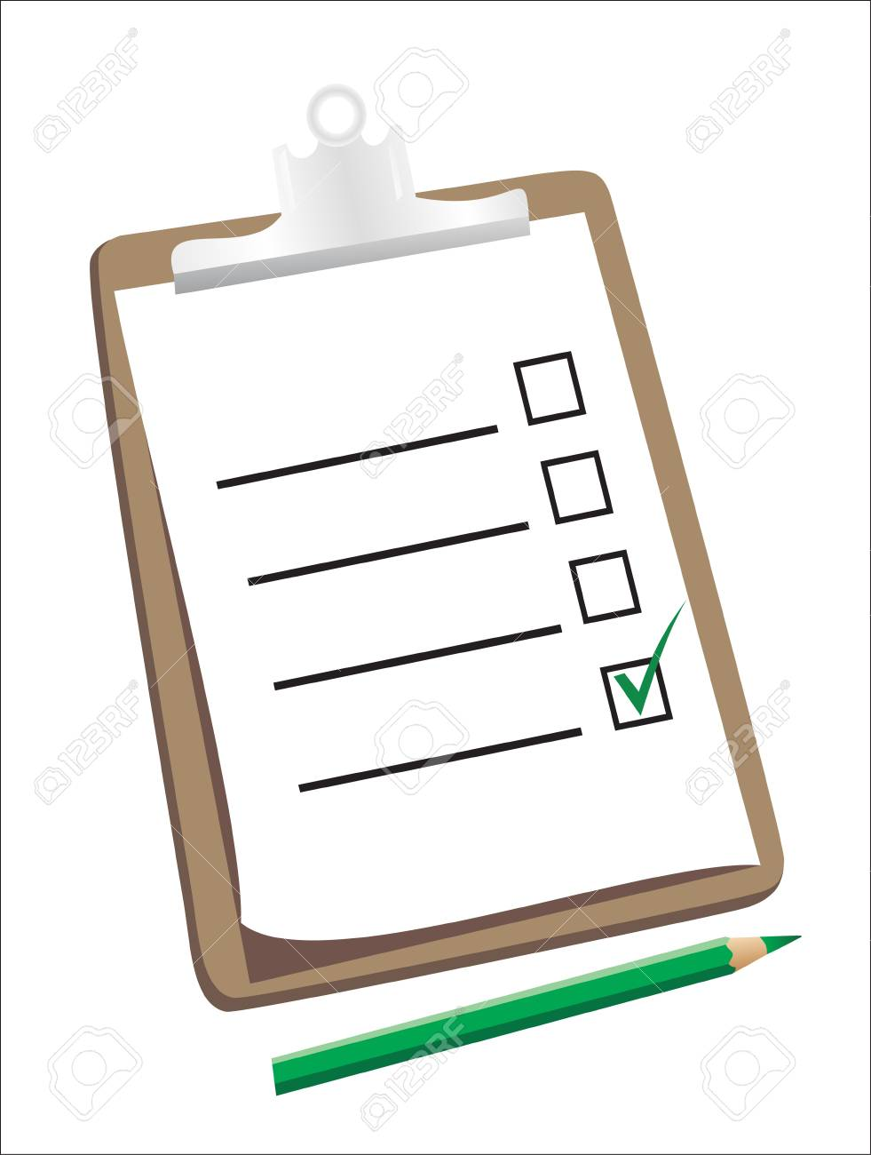 A wooden clipboard holding a ticked checklist and a pencil Stock Vector - 18438567