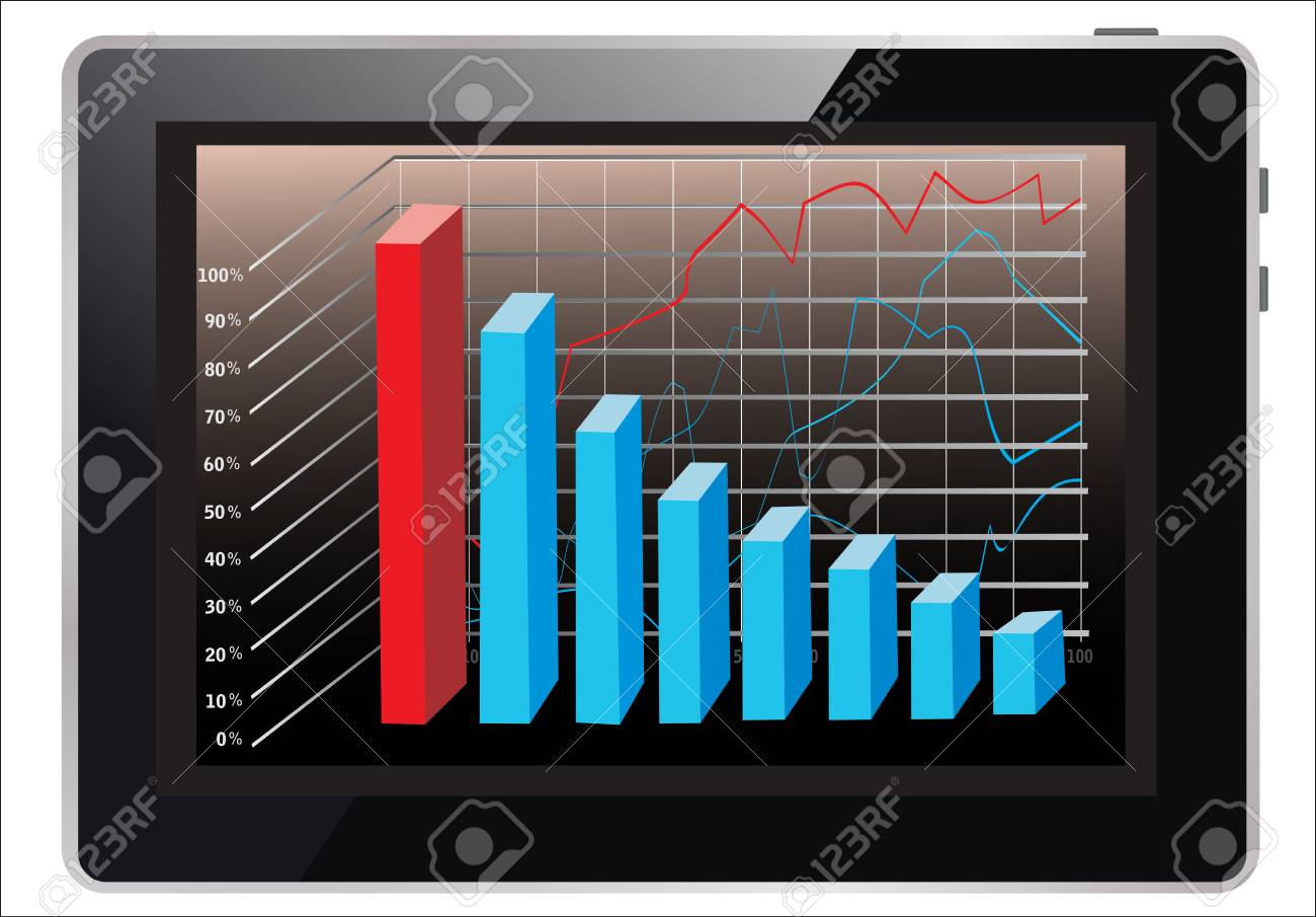 computer tablet showing a spreadsheet with some 3d charts over it Stock Vector - 18439298
