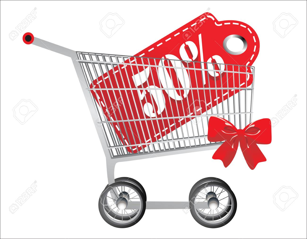 hopping cart and red fifty percentage discount, isolated on white background. Stock Vector - 18440465