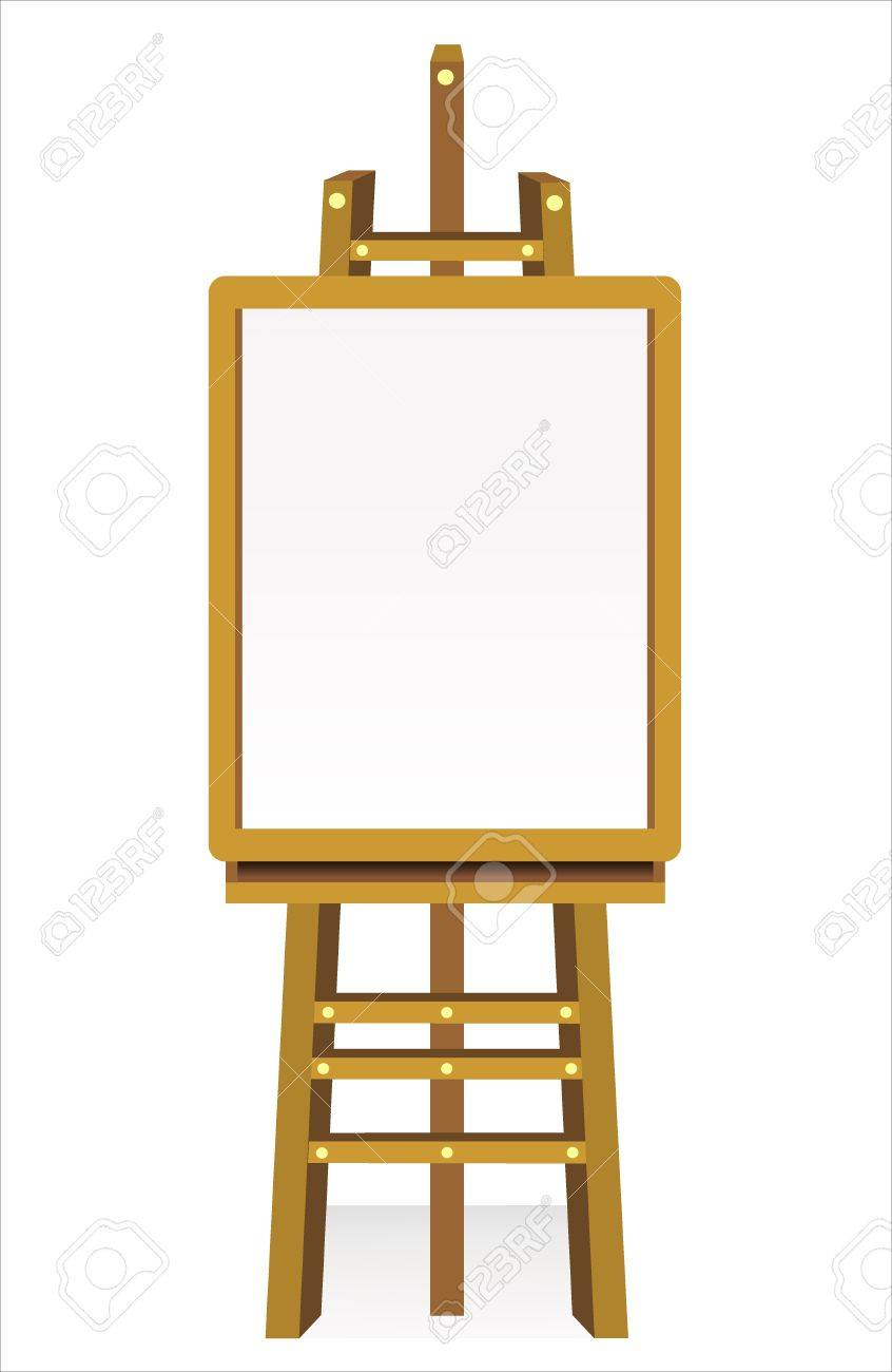Blank art board, wooden easel, front view, isolated on white Stock Vector - 18463846