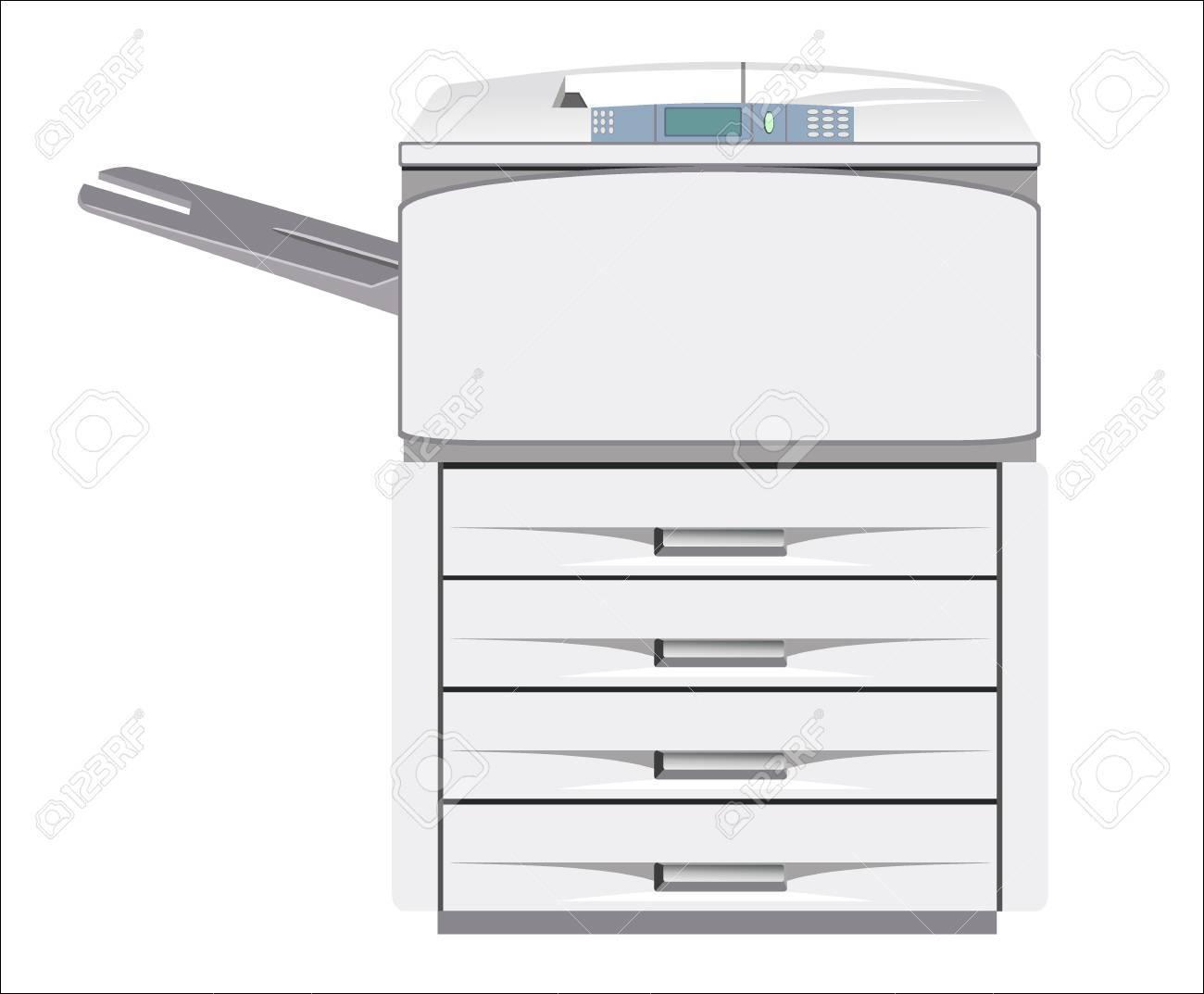 Grey computer printer isolated - 18463395
