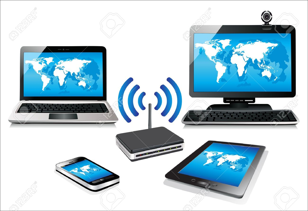 Home Wifi Network Internet Via Router On Pc, Phone, Laptop And ...