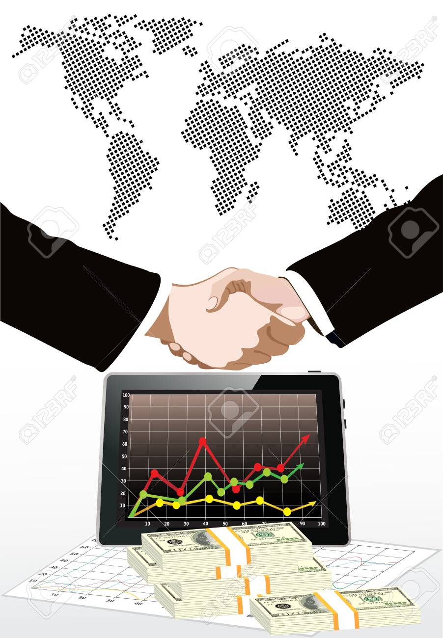World map,dollars bills and tablet pc computer over it handshake Stock Vector - 19393815